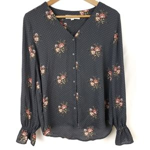 Loft Button Down Polka Dot and Floral Blouse Small